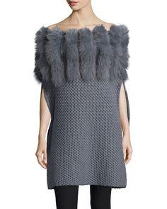 Fur-Trim Convertible-Neck Knit Poncho, Size: SMALL, Gray - Roberto Cavalli