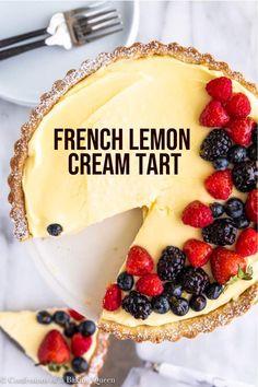 Summer Dessert Recipes, Lemon Desserts, Lemon Recipes, Just Desserts, Sweet Recipes, Delicious Desserts, Yummy Food, Desserts Keto, French Recipes