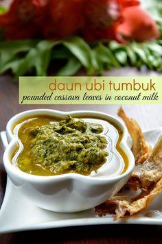 Indonesian Medan Food: Daun Ubi Tumbuk (Pounded Cassava Leaves in Coconut...