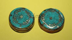 Turquoise beads coral beads 2 beads Tibetan Beads by goldenlines