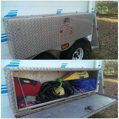 DIY horse trailer manager storage from truck tool box.  Measure your wheel wells and keep in mind any DOT width restrictions. #horse #trailer #diy