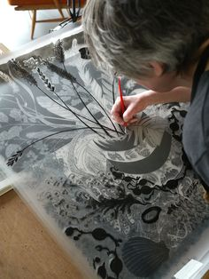 Angie Lewin works on 'Shoreline', a large screenprint produced for Towner Eastbourne
