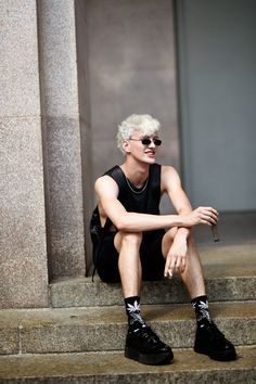 Men Blonde Hair, Blonde Boys, Men Street, Street Wear, Ivan Bubalo, Unisex Fashion, Mens Fashion, Movies And Series, Black White Fashion