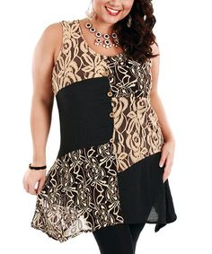 Another great find on #zulily! Black & Beige Floral Lace Patchwork Sleeveless Tunic - Plus by Lily #zulilyfinds
