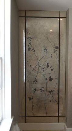 verre eglomise Art Panels | Verre Eglomise Decorative Wardrobe panel – Gilding on glass – This ...