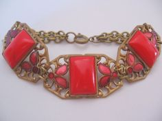 Vintage Transitional-Art Nouveau Czech Lipstick Red Glass- Enamel-Brass Bracelet