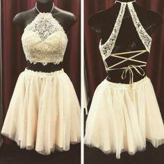 lace homecoming dress,two piece homecoming dress,halter party dress,graduation dress,short party dress,special lace up homecoming dresses,tulle 2 piece dress