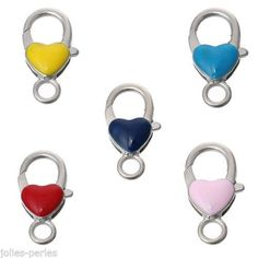 "10PCs Mixed Enamel Heart Shape Lobster Clasps 22mm x12mm( 7/8"" x 4/8"")"