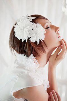 handmade double silk chrysanthemum hair clips by mignonnehandmade, $82.00