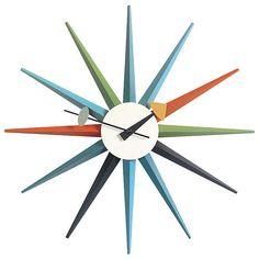SUNBURST clock by Virtra: a mid-century modern design.