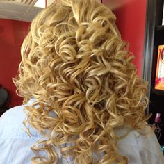 Curly back prom style  Formal spiral   By Erecka Mader at Hollywood hair new Boston Ohio