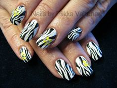 Zebra and flowers nails  #nails #nailart #stockholm #handpaintednailart