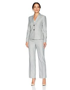 Le Suit Womens 2 Button Notch Collar Pant Suit