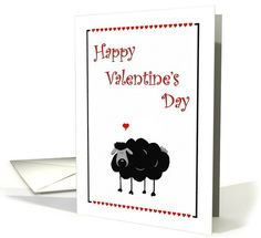 Cute Black Sheep Happy Valentine's Day - Hearts | Greeting Card Universe