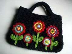 (4) Name: 'Crocheting : Crochet bag with applique flowers