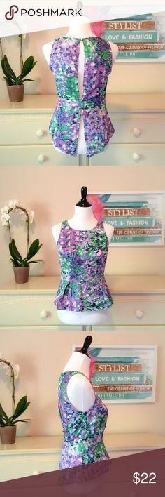Sugarlips Peplum Top with Cutout Never worn but tags were removed. Super cute purple and green sleeveless peplum top with peek-a-boo back. Button closures in the back. Size M. Sugarlips Tops Blouses