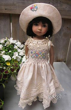 "Ivory Lace Smocked Dianna Effner Little Darlings 13"" Studio Dolls by Pixxells 