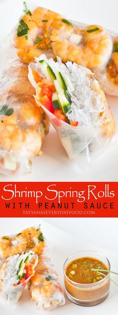 A simple and amazingly delicious recipe for Thai shrimp spring rolls! Plus, easy recipe for a ginger-garlic peanut dipping sauce. Make sure to watch my step-by-step video tutorial! Thai Recipes, Shrimp Recipes, Vegetable Recipes, Asian Recipes, Appetizer Recipes, Shrimp Meals, Food Shrimp, Thai Shrimp, Cooking Recipes