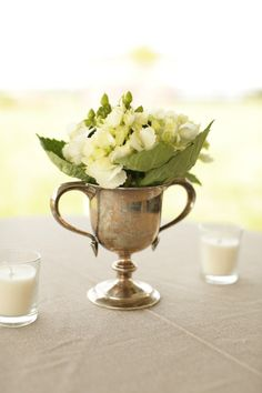 simple linen, votives and silver | kentucky farm wedding | style me pretty