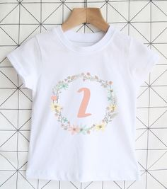 Floral Age 2 Birthday Tshirt Girls 2nd Shirt Summer Party Outfit Today Toddler T Pink Gift