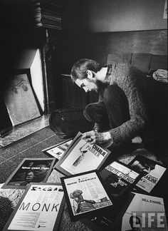 1961, paris france, loomis dean, student going through his record collection.