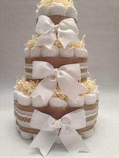 Neutral Burlap Diaper Cake Baby Shower by MrsHeckelDiaperCakes