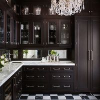 de Giulio Kitchen Design - kitchens - butler's pantry, espresso, stained, glass-front, kitchen cabinets, marble, countertops, mirrored, back...
