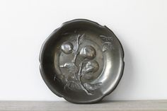 Vintage cast metal plate / pewter gray / apple by WhiteDogVintage