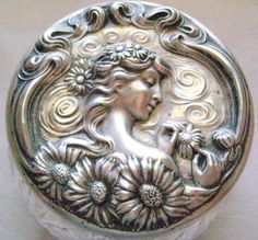 Unger Bros. Large Sterling  Cut Glass Powder Jar He Loves Me from The Lady's Room Exclusively on Ruby Lane