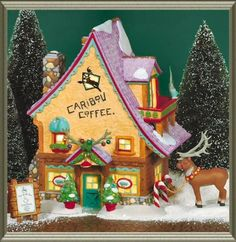 Department 56 North Pole Village Caribou Coffee Shop. One of my favorite pieces that my Mum has. @Sam Morehouse :)