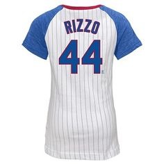 Chicago Cubs Girls' Anthony Rizzo Pinstripe T-Shirt Jersey - White XS, Multicolored White