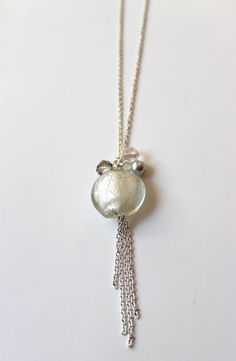 Grey and White Murano and Crystals Georgeous by almacastro on Etsy, $20.00