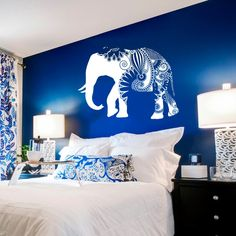 Wall Decal Vinyl Sticker Decals Art Decor Design Mural Ganesh Om Elephant Aztec Pattern Damask Tribal Buddha Karma India Bedroom Dorm (r679)