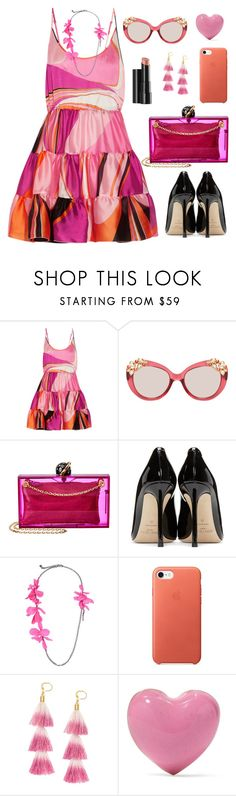 """Untitled #2118"" by ebramos ❤ liked on Polyvore featuring Emilio Pucci, Jimmy Choo, Charlotte Olympia, Arbonne, Lanvin, Shashi and Alison Lou"