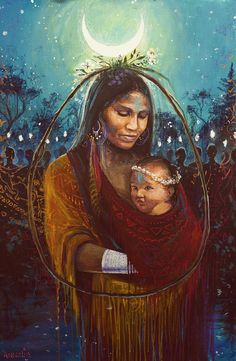 """The Awaited Child by Annelie Solis  Acrylic, silver pen & pastel (indeed!), 24"""" x 36""""  I started this piece earlier this yea..."""