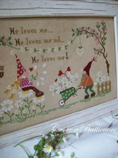 Dear cross stitch gnomes: he loves me, he loves me not petals. Repinned by www.mygrowingtraditions.com