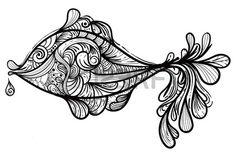 9650917-ベクターの手描きモノクロ魚.jpg 450×300 ピクセル