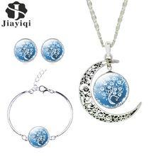 Le donne belle romantico gioielli in argento sterling set bianco blu immagine albero di vetro luna ciondolo collana orecchini bracciale set