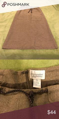 Christopher & Banks NWOT long brn sz 12 skirt NWOT zipper back, braided belt, tweedlike fabric design, long fully lined w/o slits, lands at ankles Christopher & Banks Skirts