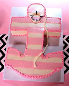 nautical anchor cake Anchor Baby Showers, Baby Shower Niño, Baby Shower Cakes, Baby Shower Parties, Baby Shower Themes, Nautical Cake, Nautical Party, Nautical Anchor, Birthday Cake Girls