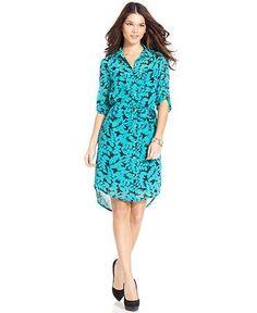 MADEMOD | DKNYC Short-Sleeve Printed High-Low Shirt Dress | Macy's