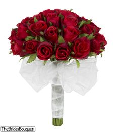 Red Silk Rose Bud Hand Tie (3 Dozen Roses) - Bridal Wedding Bouquet