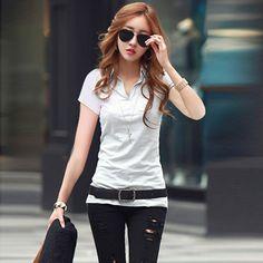 夏装新款上衣2015棉衬衫气质大码女装韩版衬衣V领短袖女T恤打底衫-淘宝网