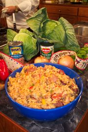 New Years Jambalaya by Chef John Folse...This delectable dish is perfect for your New Year's celebration because it includes the two traditional ingredients: black-eyed peas and cabbage. The tradition states that black-eyed peas bring good luck and cabbage brings financial good fortune