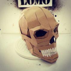 Cardboard Human Skull DIY (Last Minute Halloween Build) Cardboard Costume, Cardboard Mask, Cardboard Sculpture, Cardboard Paper, Cardboard Crafts, Cardboard Animals, Skull Template, Mask Template, Starlord Mask