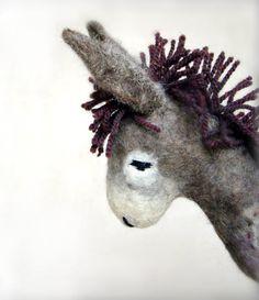 Vania  Felt Donkey. Art Animal Marionette by TwoSadDonkeys on Etsy, $74.00