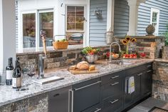 All that granite and stone complements the Danver Stainless Outdoor Kitchen cabinetry wonderfully! http://www.KNSales.com/Cabinet/Danver/