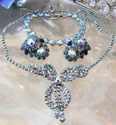 VTG BLUE AB RHINESTONE NECKLACE SIGNED CROWN TRIFARI EARRINGS WEISS BRACELET LOT in Jewelry & Watches, Vintage & Antique Jewelry, Costume | eBay