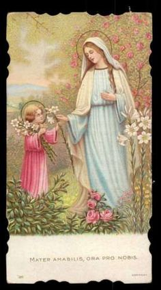MATER-AMABILIS-VIRGIN-MARY-CHILD-JESUS-PICKING-FLOWERS-Old-1929-HOLY-CARD