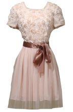 Pink Short Sleeve Flowers Embellished Belt Dress $23.06